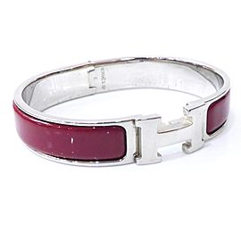 Hermes Silver Tone Hardware Enamel & Cloisonne H Logo Bangle Bracelet