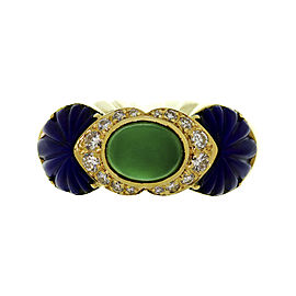 Cartier 18k Yellow Gold Rhodochrosite, Lapis Lazuli, Diamond, Lapis Ring Size 6.75