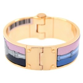 Hermes Charniere Gold Tone Hardware with Pink and Blue Enamel Bangle Bracelet