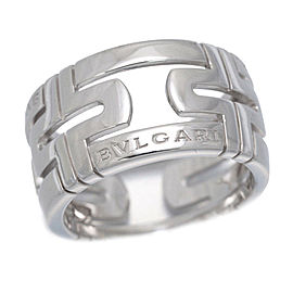 Bulgari Parentesi 18K White Gold Ring Size 7.5