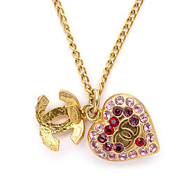 Chanel Coco Mark Gold Tone Hardware with Rhinestones Heart Necklace