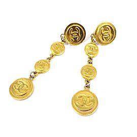 Chanel Gold Tone CC Logo Earrings