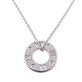 Tiffany & Co. Atlas 18K White Gold with 4P Diamond Necklace