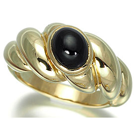 Van Cleef & Arpels 18K Yellow Gold Onyx Ring Size 6.5