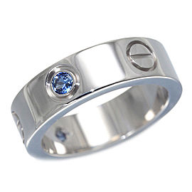 Cartier Love Ring 18K White Gold and Sapphire Size 5.25