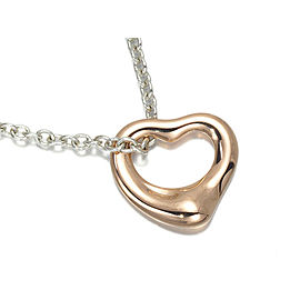 Tiffany & Co. 18K Pink Gold 925 Sterling Silver Open Heart Necklace