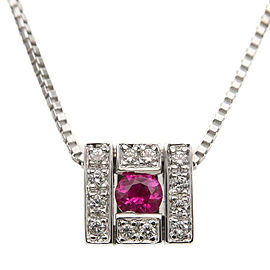 Damiani Belle Epoque 18K White Gold with Diamond & Ruby Necklace