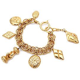 Chanel Gold Tone Hardware Charm Vintage Bracelet