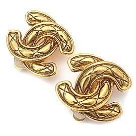 Chanel Coco Mark Gold Tone Metal Earrings
