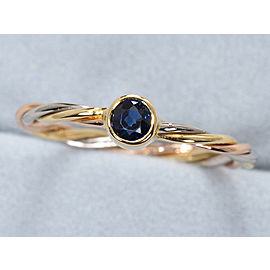 Cartier Trinity Twist Ring 18K Tri-Gold and Sapphire Size 5.5