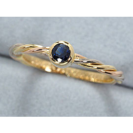 Cartier Trinity Twist Ring 18K Tri-Gold and Sapphire Size 4.5