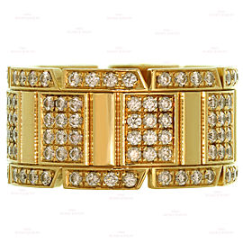 CARTIER Tank Francaise Diamond 18k Yellow Gold Large Band Ring Size 57