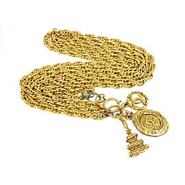 Chanel Gold Tone Triple Chain CC Necklace