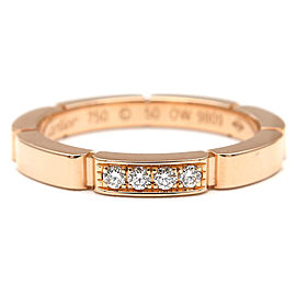 Cartier 18K Rose Gold 4P Diamond Maillon Panthère Ring Size 5.5