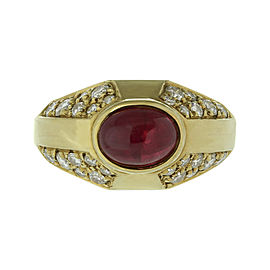 Bulgari 18K Yellow Gold Diamond Ruby Ring Size 6