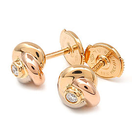 Cartier Baby Trinity 18K Tri-Color Gold Diamond Earrings