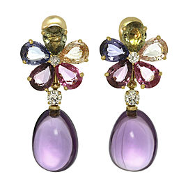 Bulgari 18K Yellow Gold Diamond Sapphire Amethyst Earrings