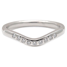 Tiffany&Co. Curved Band Ring 9P Diamond Platinum Ring Size 5