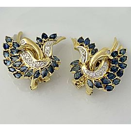 Omega 14K Yellow Gold Sapphire, Diamond Earrings