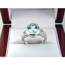 14K White Gold Topaz, Diamond Ring Size 7