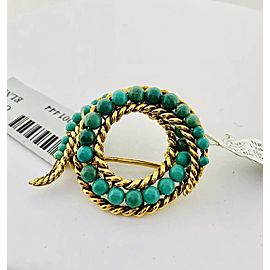 18K Yellow Gold Turquoise Brooch