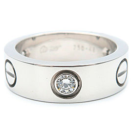 Cartier 18 WG Half 3P Diamond Love Ring Size 4.5