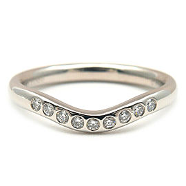 Tiffany&Co. Platinum 9P Diamond Curved Band Ring Size 4