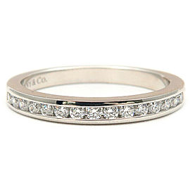 Tiffany&Co. PT Half Circle Channel-set Diamond Ring Size 4.5