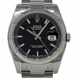 Rolex Datejust 36mm 116234 Steel White Gold Black