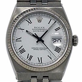 Rolex Datejust Oysterquartz 17014 36mm Stainless Steel White 1984