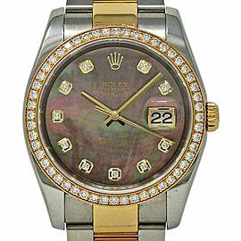 Rolex Datejust 116243 36mm Steel Yellow Gold MOP Diamond