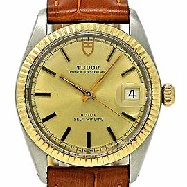 Tudor Prince Oysterdate 9071/3 34mm Stainless Steel & Gold Leather