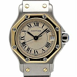 Cartier Santos Octagon Steel Gold Automatic White Roman