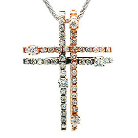 Auth DAMIANI Notte di San Lorenzo Cross Diamond Necklace 750PG×750WG Used F/S