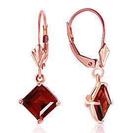 3.2 CTW 14K Solid Rose Gold Garnet Simplicity Earrings