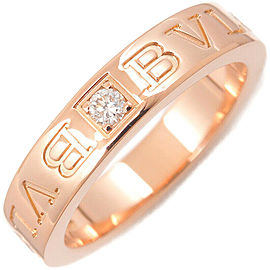 Auth BVLGARI Double Logo Ring 1P Diamond K18 Rose Gold US5.5 HK12 EU51 Used F/S