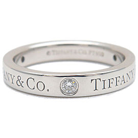 Authentic Tiffany&Co. Flat Band 3P Diamond Ring Platinum 950 US4.5 EU48 Used F/S