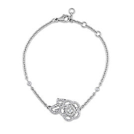 "Chanel 18K White Gold Camelia Diamond Bracelet Length: 7"""