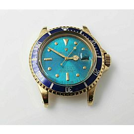 TROPICAL NIPPLE DIAL Vintage Rolex Submariner 1680 Blue 18K Yellow Gold RARE