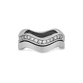 Cartier 18K White Gold 2 Row Neptune Diamond Stackable Ring Size: 6.25