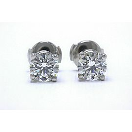 Tiffany & Co Platinum Diamond Stud Earrings Rounds 2.04 ct I VVS2 $29K Retail