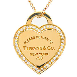 Auth Tiffany&Co. Return To Tiffany Heart Tag Diamond Necklace K18YG Used F/S