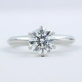Tiffany & Co Classic Platinum Diamond Engagement Ring Round 1.23 cts G VS2