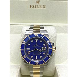 Rolex Submariner 116613 Blue Diamond Dial 18K Yellow Gold Steel Box Paper 2010