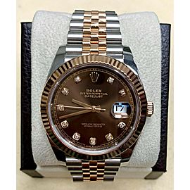 Rolex Datejust 41 126331 Chocolate Diamond Dial 18K Rose Gold Stainless Steel