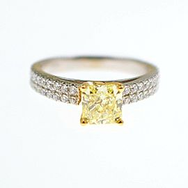Fancy Yellow Diamond Engagement Ring 1.62 tcw Radiant Pave Diamonds $15000 Value