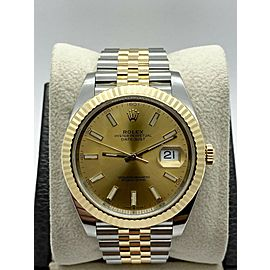 Brand New Rolex Datejust 41 126333 Champagne 18K Yellow Gold Stainless Box Paper
