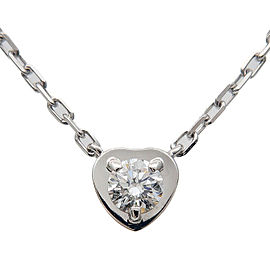 Auth Cartier Diamants Légers Heart Necklace 1P Diamond 0.13ct K18WG Used F/S