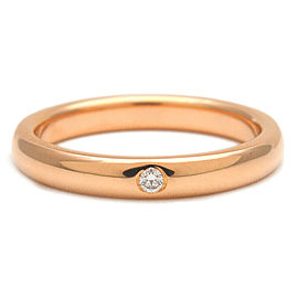 Authentic Tiffany&Co. Stacking Band Ring 1P Diamond Rose Gold US5 Used F/S