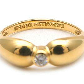 Auth Tiffany&Co. Double Teardrop 1P Diamond Ring Yellow Gold US5 EU48.5 Used F/S